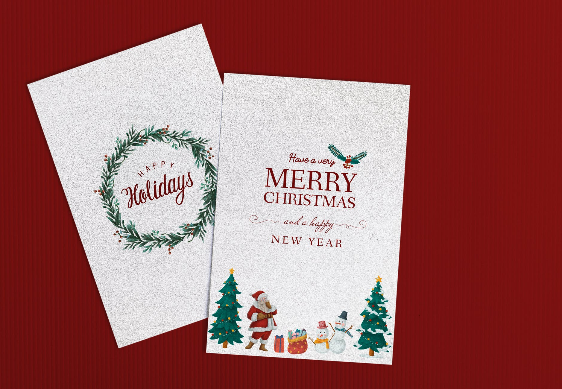two merry christmas cards illustration