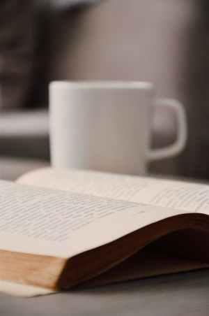 white book beside white mug