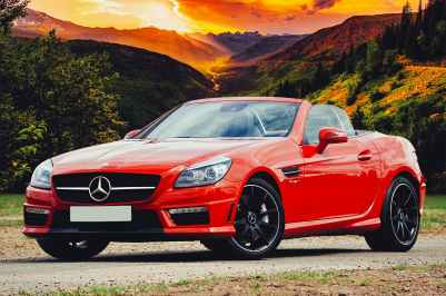 red mercedes benz convertible
