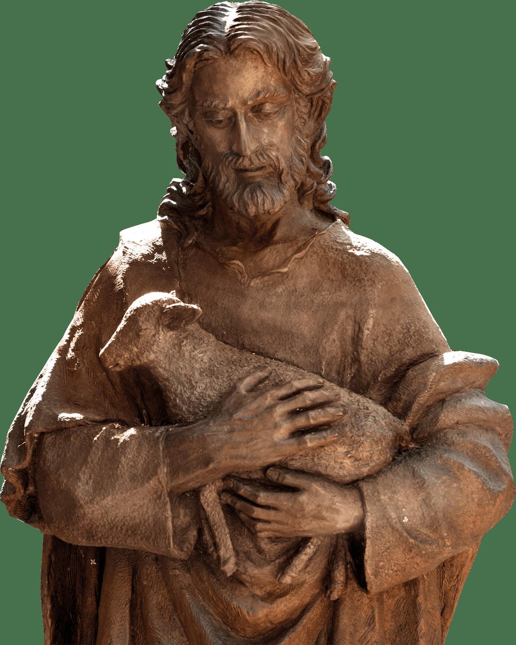 man holding sheep statuette
