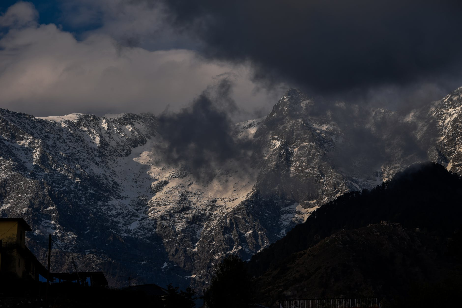 snowy mountain peaks under cloudy sky