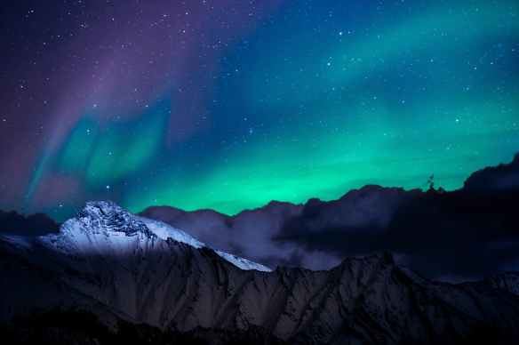 landscape photo of mountain with polar lights