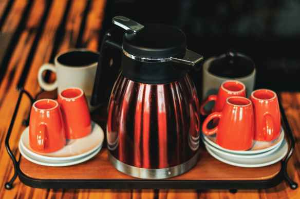 red and white coffee set